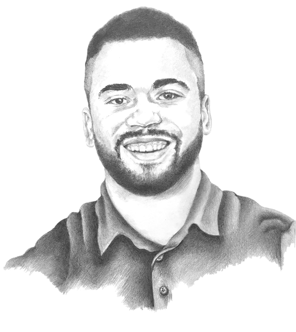 portrait of young man drawn in pencil