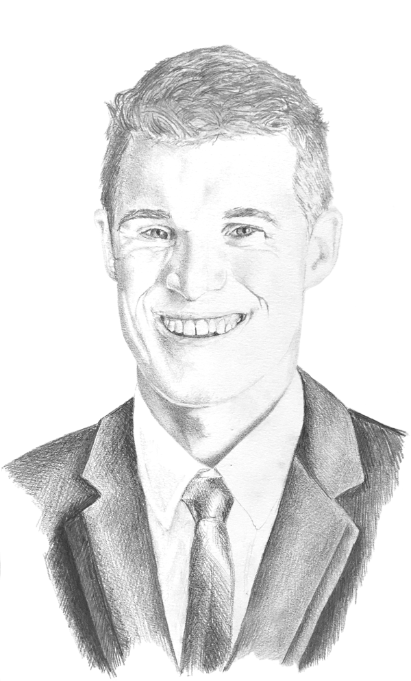 Portrait of young man in suit and tie, drawn in pencil