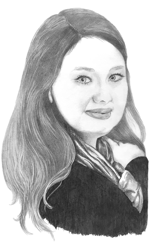 portrait of young woman with scarf wrapped around her neck, drawn in pencil