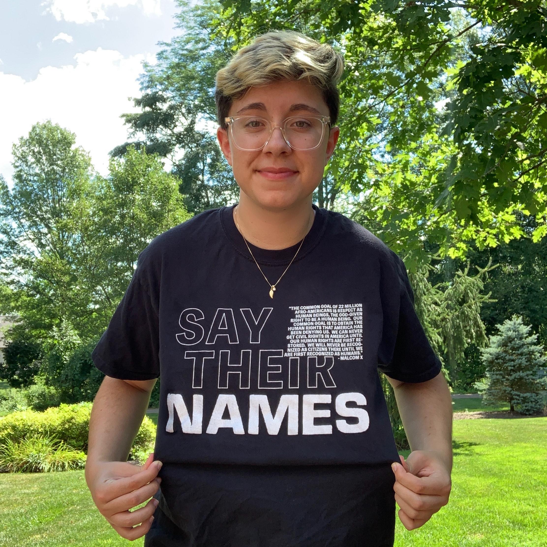 Shauna Barket wears the shirt she designed in support of Black Lives Matter.