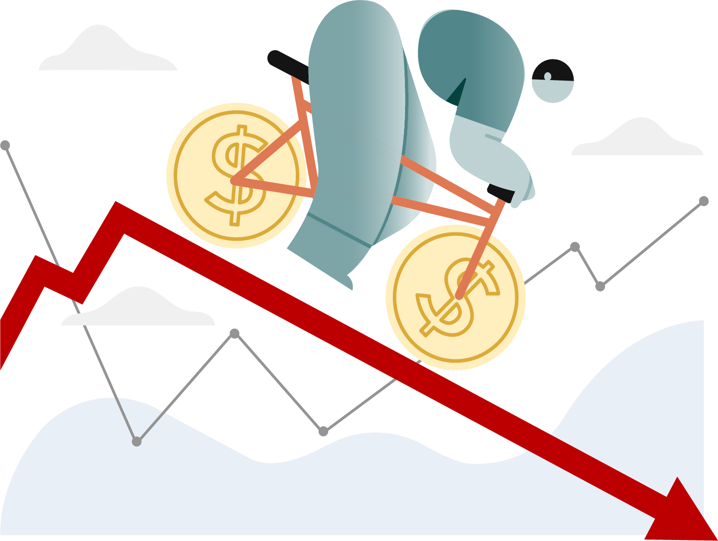 Illustration of bike rider riding down a line graph