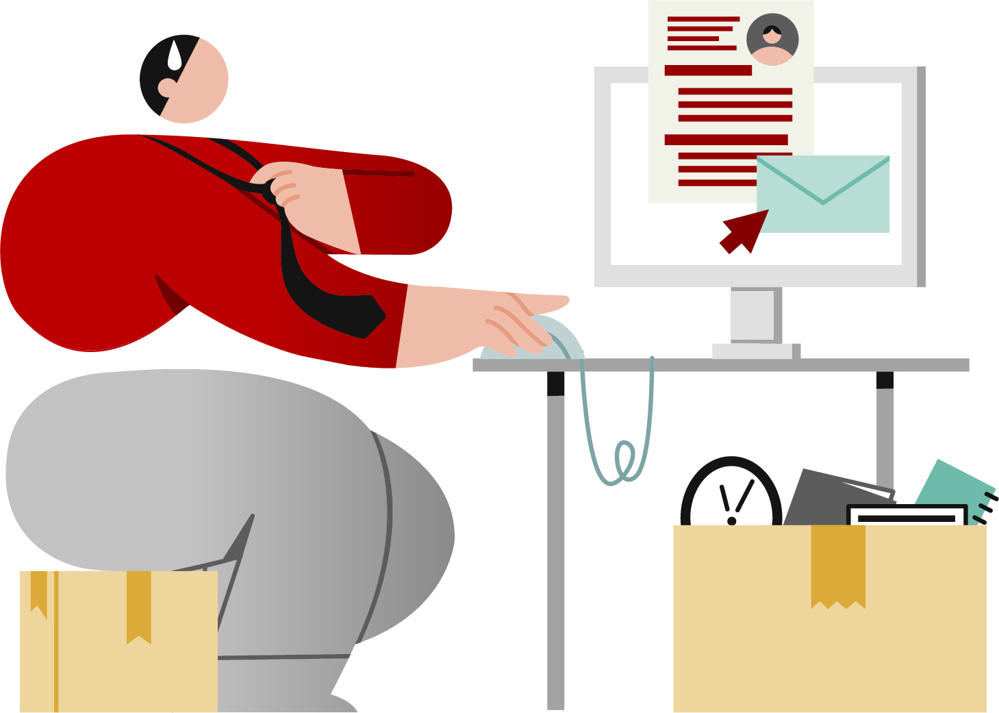 Illustation of person sitting at desk working on computer