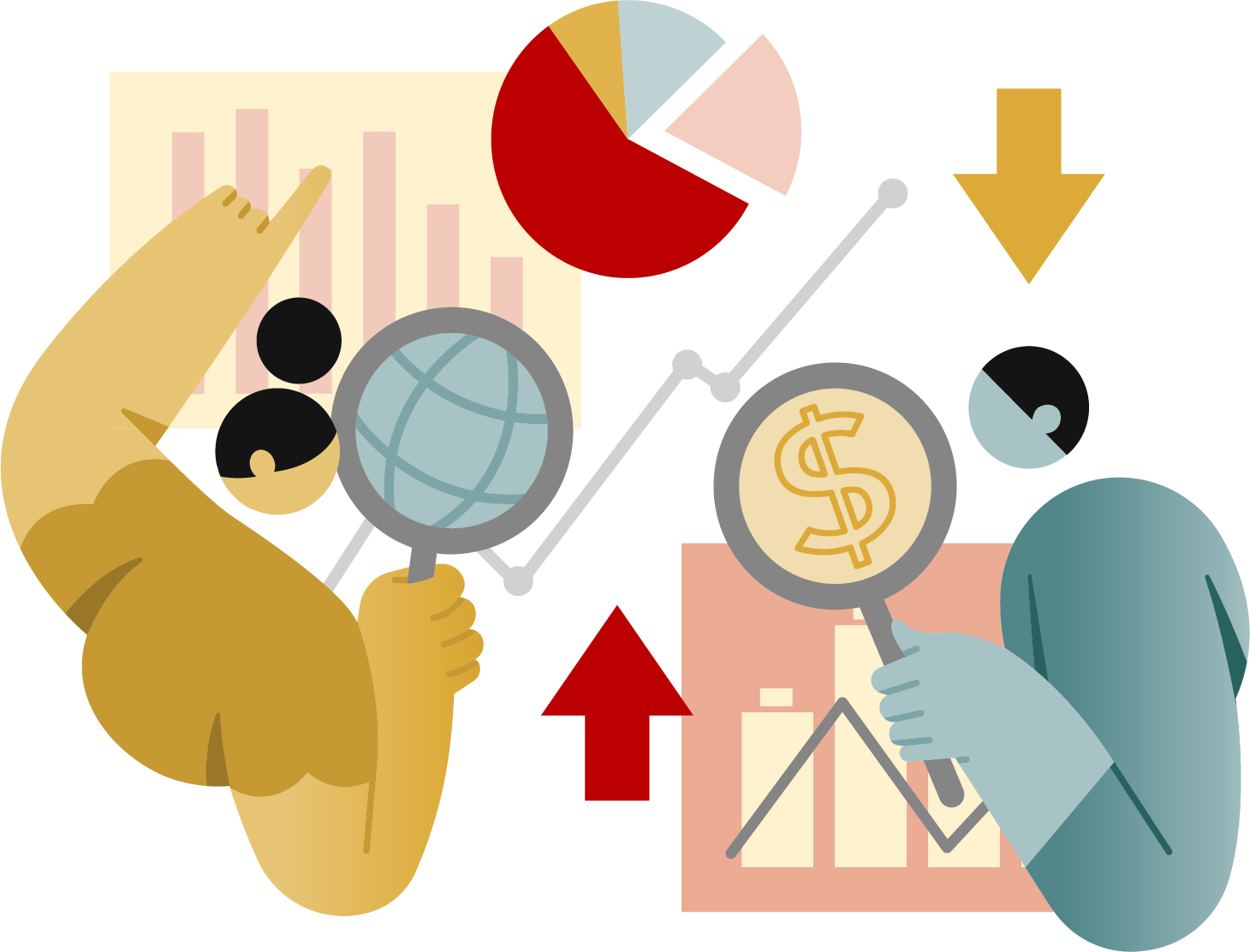 Illustration of two people using magnifying glasses to analyze charts